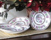 Early 1900s Glazed China Indian Tree Saucers Set Antique VICTORIA POTTERY Fenton