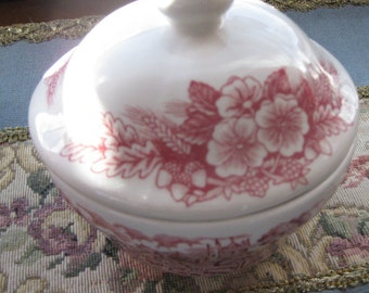 Broadhurst Ironstone Porcelain  Butter or Sugar Bowl Made In England  Pink flowers on SaLe Now