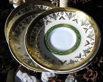 Royal Grafton Saucers Set 24k gold gild Vintage Fine Porcelain Replacement Plates Set On SaLe Now