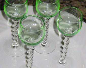 Great Set  Cordial Glasses Green Glass Twist Pedestals Great Vintage Set 1940's Like Vaseline Color