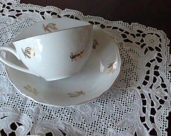 Anniversary Tea Cup with Gold Bows BOHEMIA Czechoslovakia Tea Cup and Saucer  SET Gold Rim VINTAGE On SaLe Now