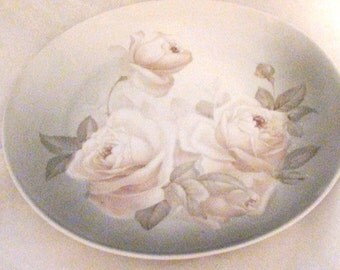 White Roses Bavaria Decorative Plate Antique Made in Germany  Porcelain Collectible 1900s Bavaria Z.S. & Co  On SaLe Now