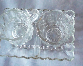 Antique Creamer & Sugar Set Victorian with serving Plate Heavy Glass Clear  On SaLe Nos