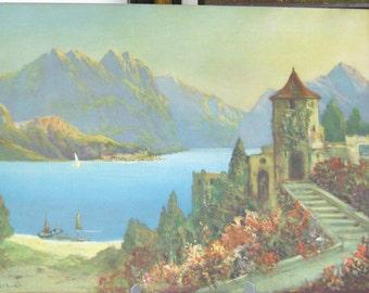 "Art Framed ""Somewhere in Europe"" Castle Litho Print Original looks like WaterColor Brilliant Color original frame Antique"