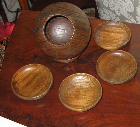 Vintage SnaCk Bar Wood Bowl and Coasters Apco Japan   Serving Snaks Peannuts Candy Jar Teak serving