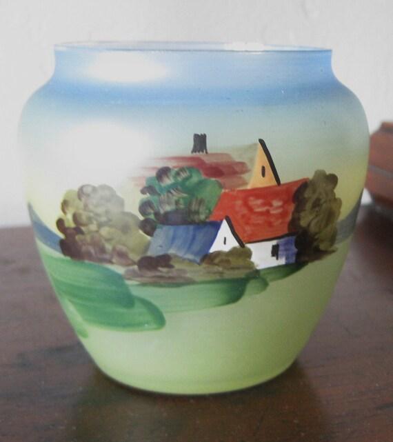 Czechoslovakia Art Folk Hand Painted Decoration Bowl Souvenir gift Lake Winnipesauke Vintage 1950's