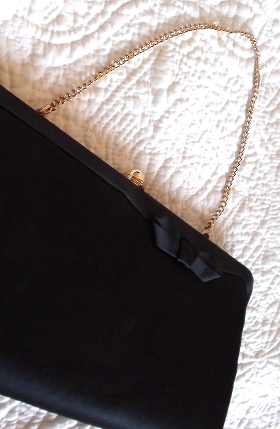 Handbag Evening Black Bag  Clutch and Brand Admiral or Mourning Clutch Handbag  Handle from 1940s  Now On Clearance