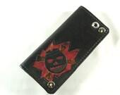 Hand Tooled Leather Wallet - Crossbone Bomb - Kustom Leather - Biker Size Wallet