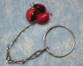 Peruvian Huayruro Trio Keychain - Good Luck- Red and Black - Avoid Evil Eye