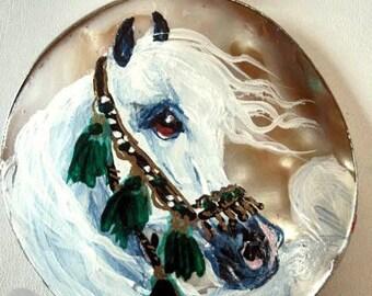 Arabian horse art necklace handpainted