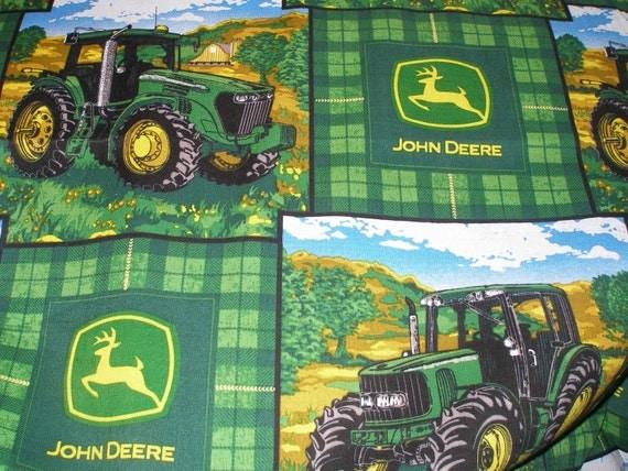 John Deere Farm Scene Tractor Fabric By The Yard