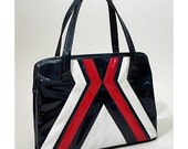 1960s Red, White and Navy Blue Vinyl Mod Purse