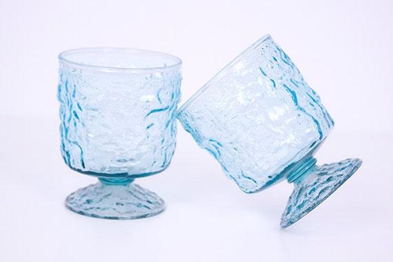 Vintage Glass Cups 1960s Anchor Hocking Aquamarine Lido Crinkle Wrinkle Set of Two
