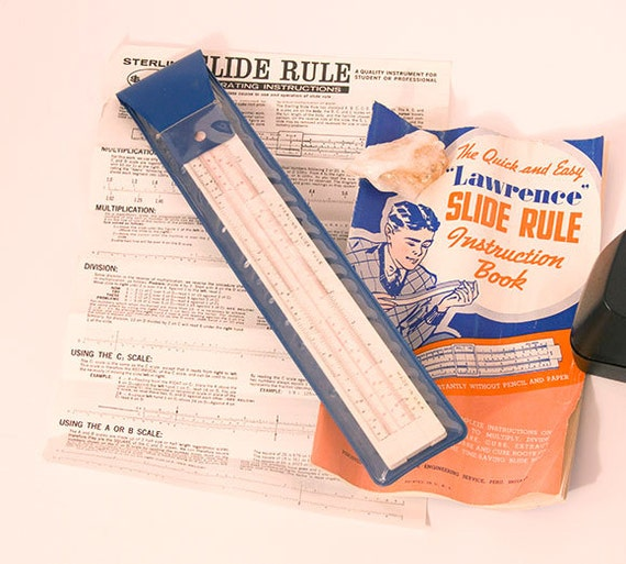 Vintage Sterling Slide Rule with Instructions and 1939 Lawrence Slide Rule Instruction Booklet Math Computing Tool