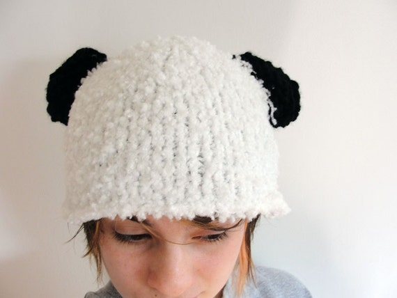 Knitted Panda Hat Adult