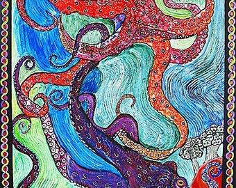 Octopus Blind Date 8x10 Art Print