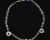Rose Quartz Prehnite Silver Floral Necklace