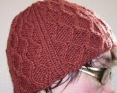Terra Cotta Lattice Cable Knit Wool Hat