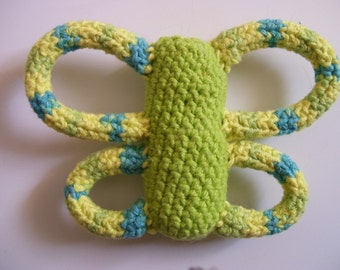 Cotton Amigurumi Butterfly Dog toy with yellow green blue wings