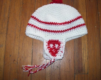 Skull Earflap with pom pom Crochet hat Red and White