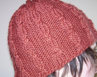 Terra Cotta Climbing Cable knit wool hat for men or women