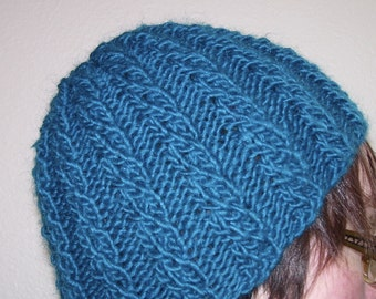 Teal ribbed cable knit wool mohair hat