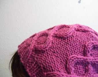 Double Bubble Pink knit cable wool hat beanie