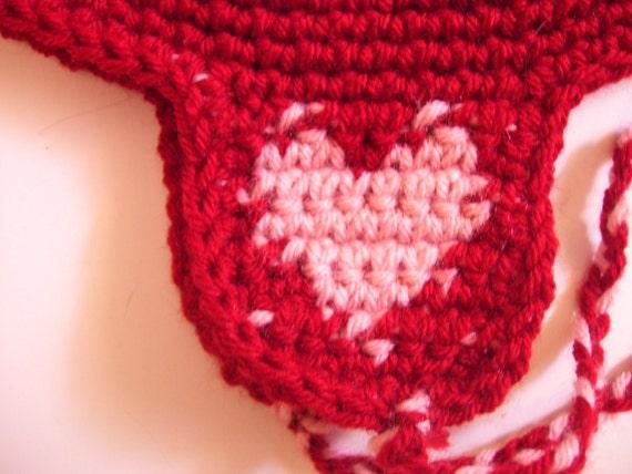 Sweet heart ear flap hat
