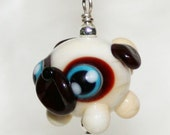 Adorable Pug Lampwork Glass Necklace and Cell Charm