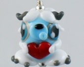 Shy the Yeti Abominable Snowman with Red Heart Valentine's Lampworked Glass Necklace and Cell Charm