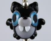 Louis the Adorable Vampire Bat Lampwork Glass Necklace and Cell Charm