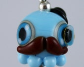 Light Blue Gentleman Octopus Lampwork Glass Necklace and Cell Charm