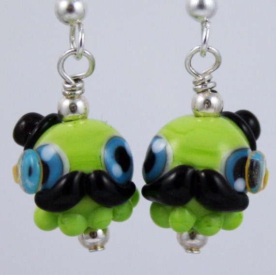 Green Gentleman Octopus Lampwork Glass Earrings