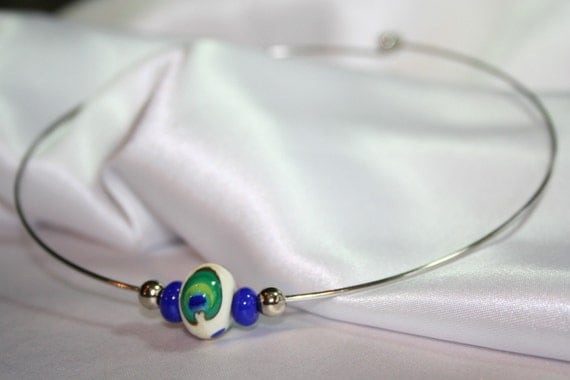 Lampworked Peacock Feather Cosmic (neck) Ring