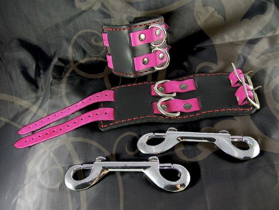 "Leather Bondage Cuffs - ""Blush"" (Two Row)"