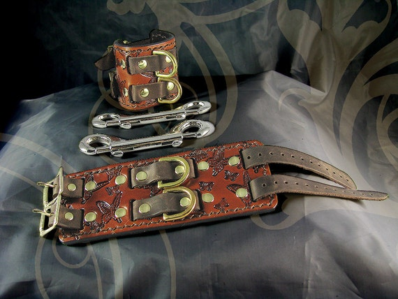 Leather Bondage Cuffs - Captured Butterfly