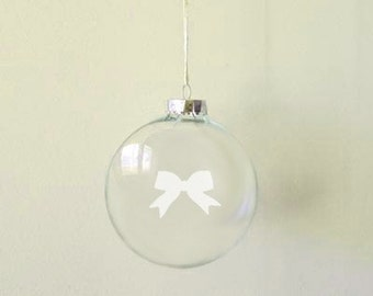 Etched Bow Glass Ornament