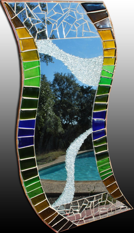Wavy Recycled Earth Colors Glass Mirror - CUSTOM MADE ITEM