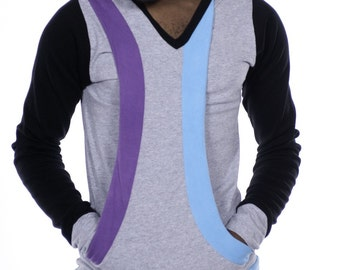 The one with blue and purple / long sleeve shirt