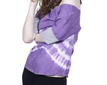 The one with the tie dye purple / t-shirt