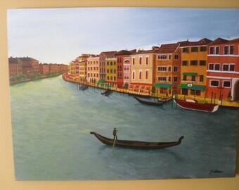 Original Acrylic Painting, 18X24 inch Original Art on Canvas, La via del fiume - Italy