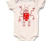 Silly Red Robot infant bodysuit, short sleeve organic cream, gift for boy, perfect baby shower gift
