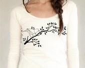 Women's Organic natural bird on Branch Shirt, long sleeve scoop neck, sexy t-shirt, feminine nature design