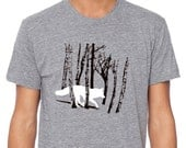 Men's Fox Shirt, Fox / Wolf running through winter trees, Heather Grey short sleeve, unisex, all sizes available - alittlelark