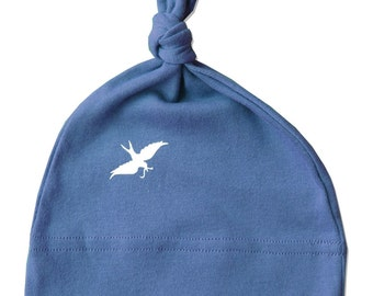 Organic Galaxy Baby BIRD Hat, deep blue, infant boy or girl hat, white bird, one size fits all