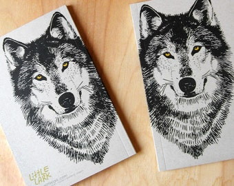 Mini Wolf werewolf Journal, small blank sketch pocket book, original design, all recycled paper