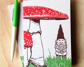 2 Mini Woodland Gnome Journals, small blank sketch pocket book, garden gnomes, original design, all recycled paper