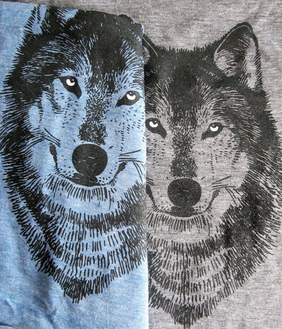 WOLF Scarves, tri-blend heather blue or grey, long scarf screenprinted, perfect gift for him or her, spooky eyes