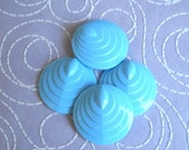 Vintage Cabochons - 4  Lucite Plastic Beads Light Blue Round Beads