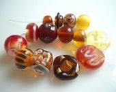 Amber Jewel Lampwork Glass Bead set  Free Shipping